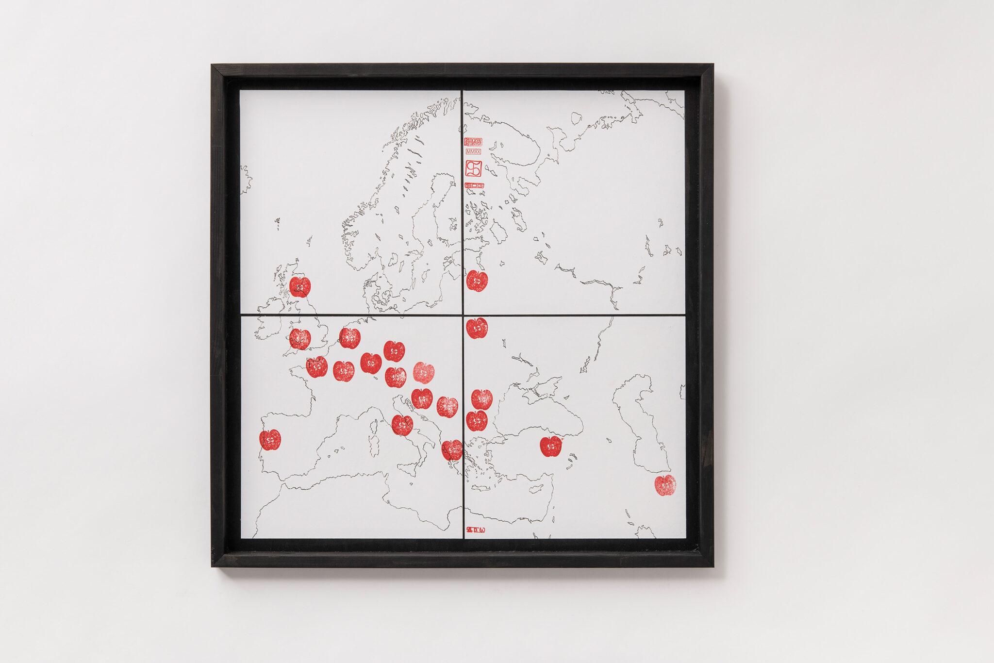 Florian Stocker, Karte Wandernder Apfelhain 2 von 3, 70 cm x 70cm