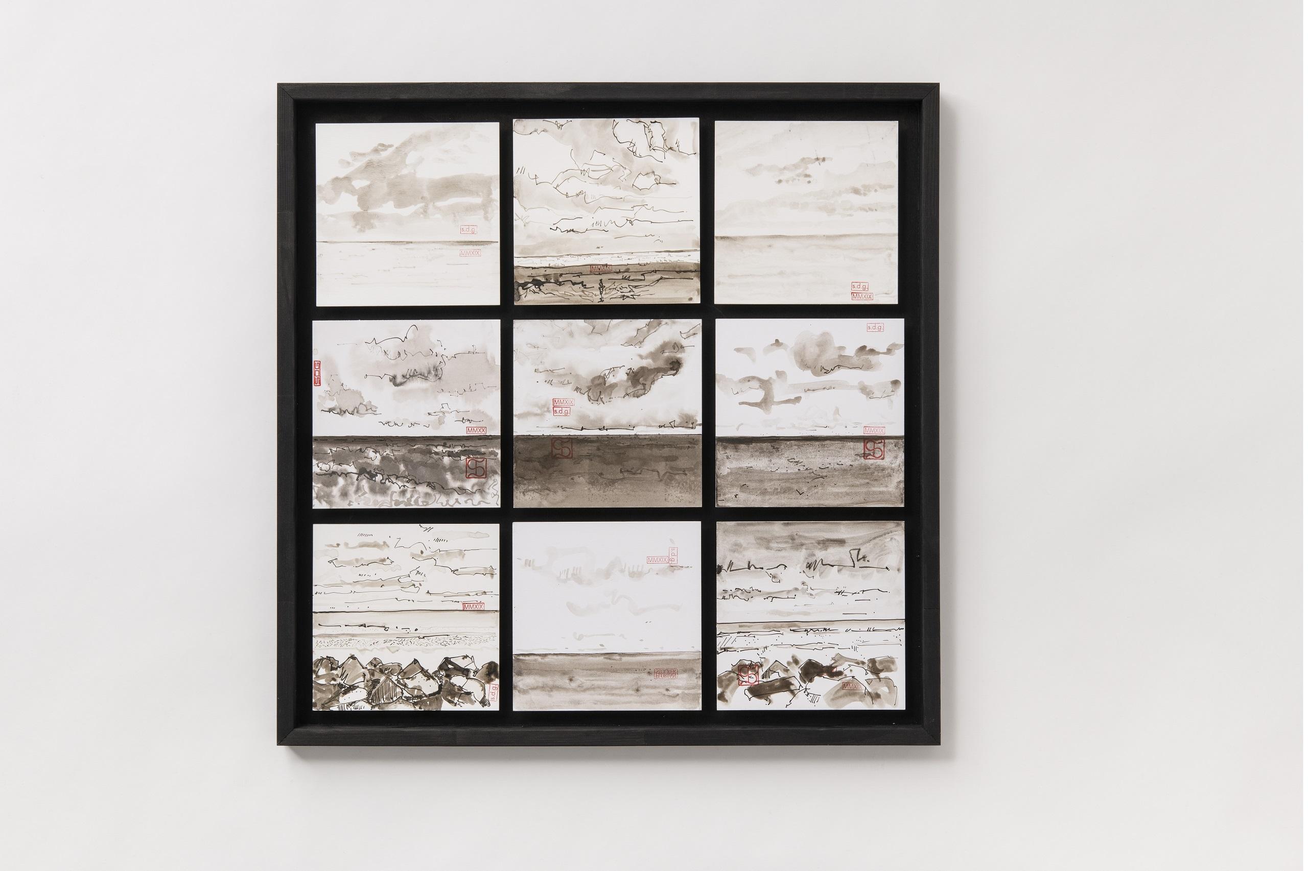 Florian Stocker, Neun Seestücke, Tuschezeichnung mit Lavage auf Karton, 70 cm x 70 cm