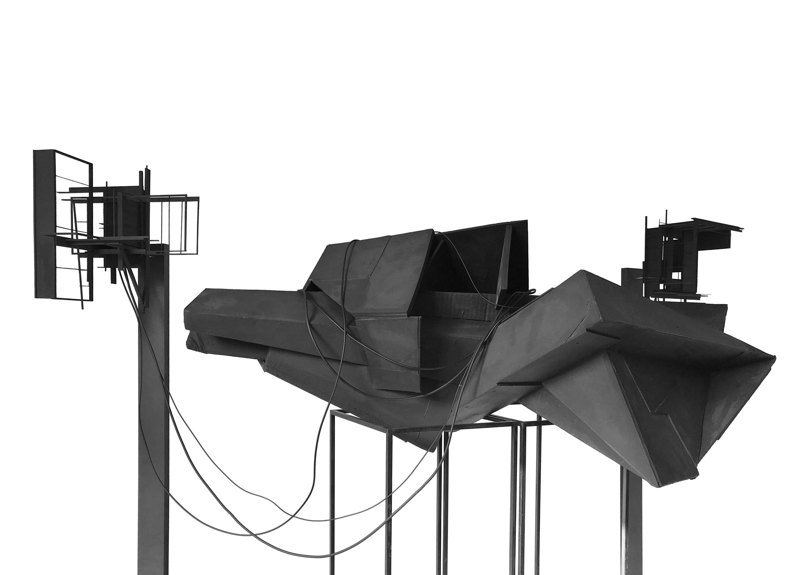 Karl-Heinz Bogner, Installation Ort_Station (Variante _01), 2019 Holz, MDF, Karton, Stahl Höhe: ca. 160 cm