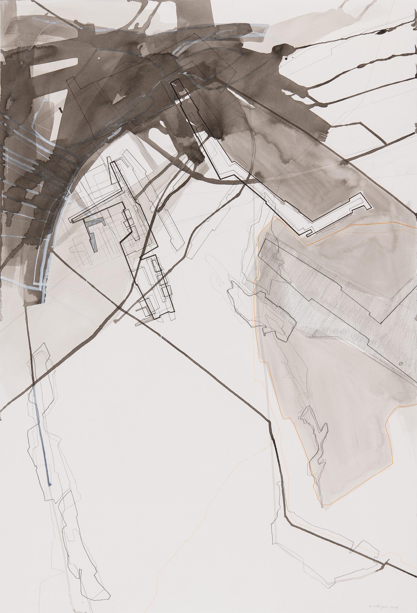 Karl-Heinz Bogner, Ohne Titel, 2018, Mischtechnik auf Papier, 94 x 64 cm
