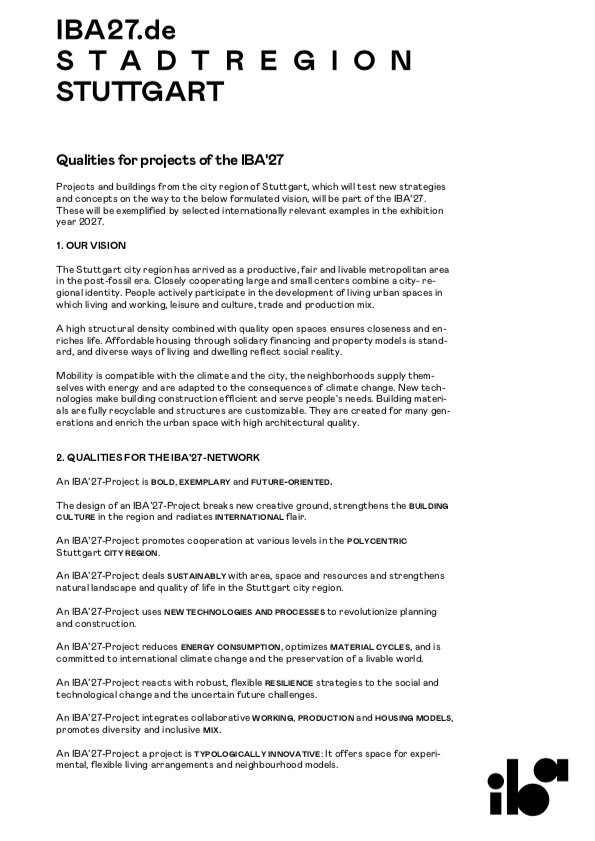IBA'27: Qualities for projects