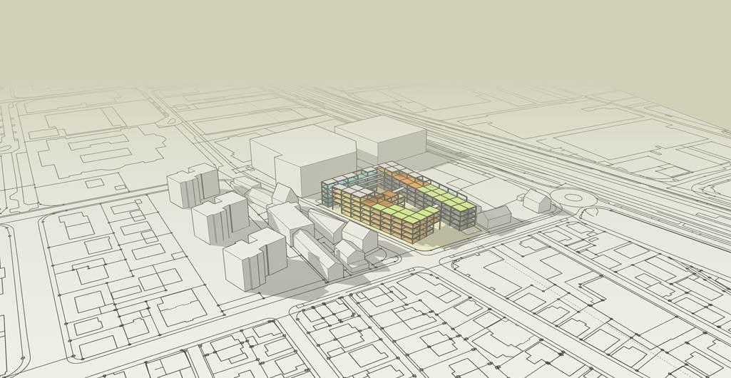 Idee Stadtregal im Klenk-Areal. Bild: Marquardt Architekten