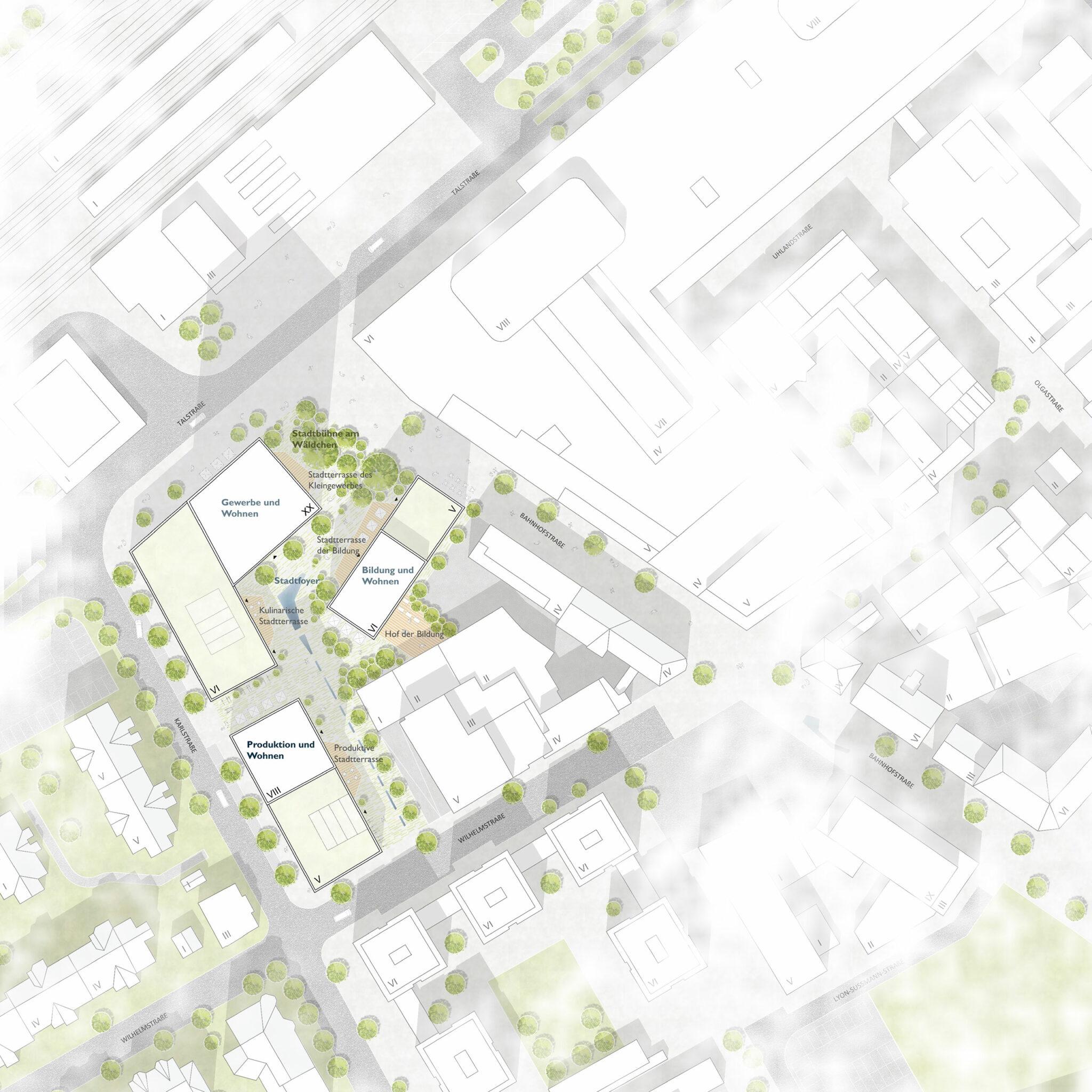 Postareal Böblingen: Site plan of the winning design (Credits: Gutiérrez - De la Fuente Arquitectos / UTA Architekten und Stadtplaner)