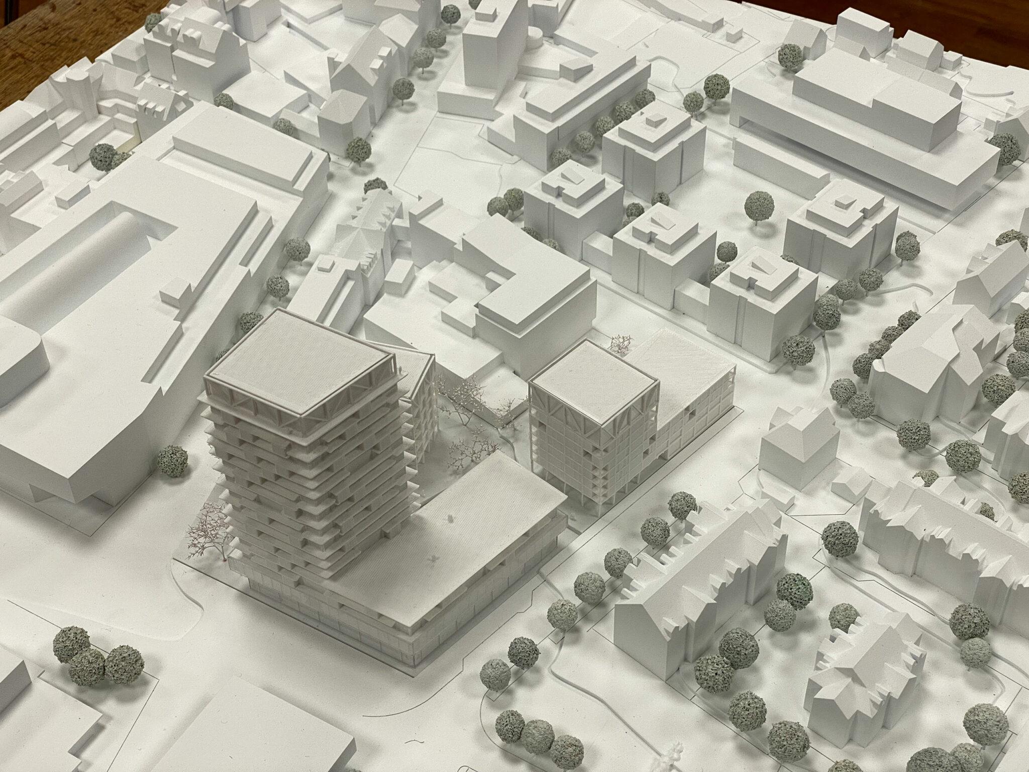 Postareal Böblingen: Model for the winning design by Gutiérrez - De la Fuente Arquitectos und UTA Architekten und Stadtplaner (Credits: IBA'27 / Schiller)