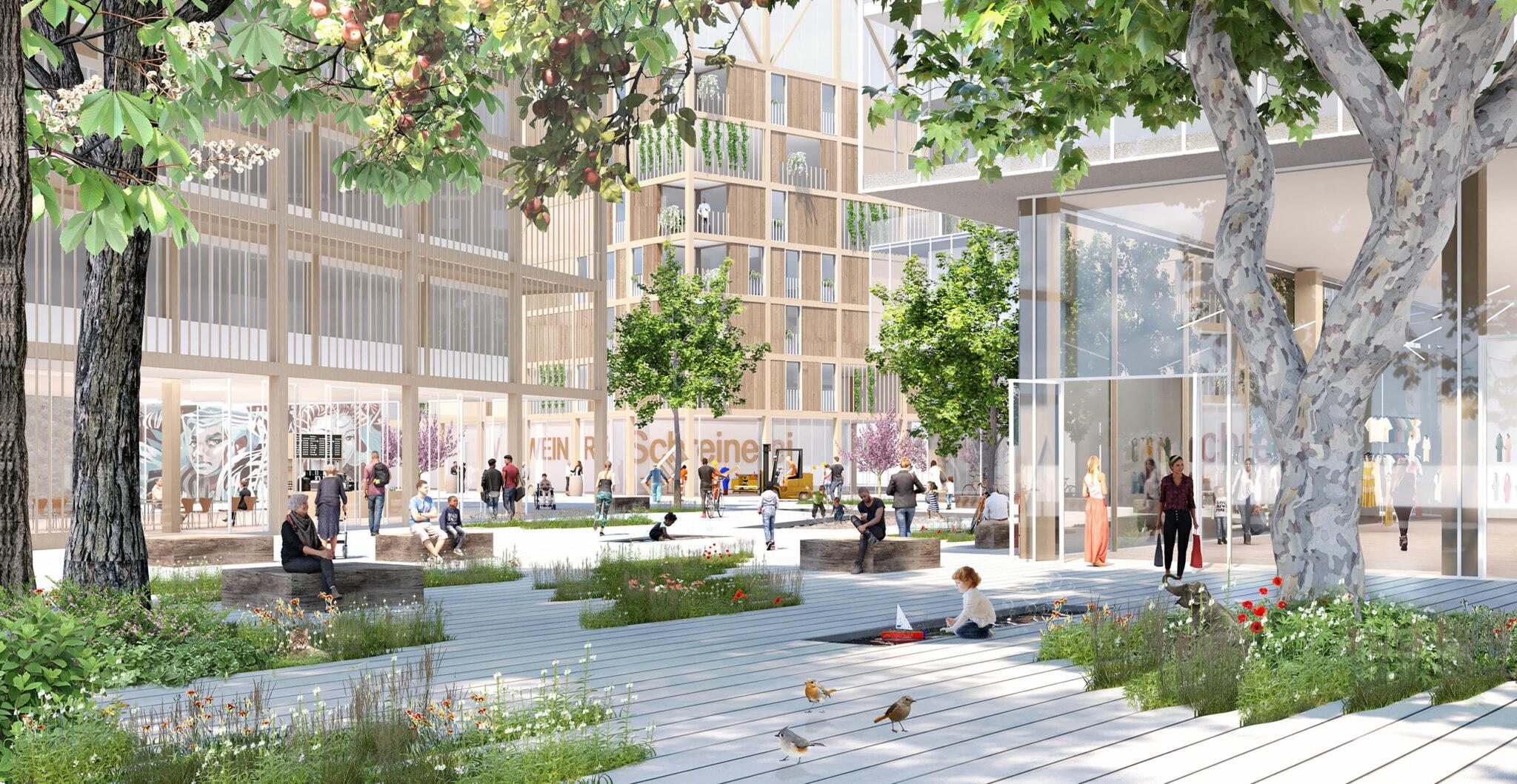 Postareal Böblingen: Visualisierung aus dem Siegerentwurf (Bild: Büros Gutiérrez - De la Fuente Arquitectos / UTA Architekten und Stadtplaner)