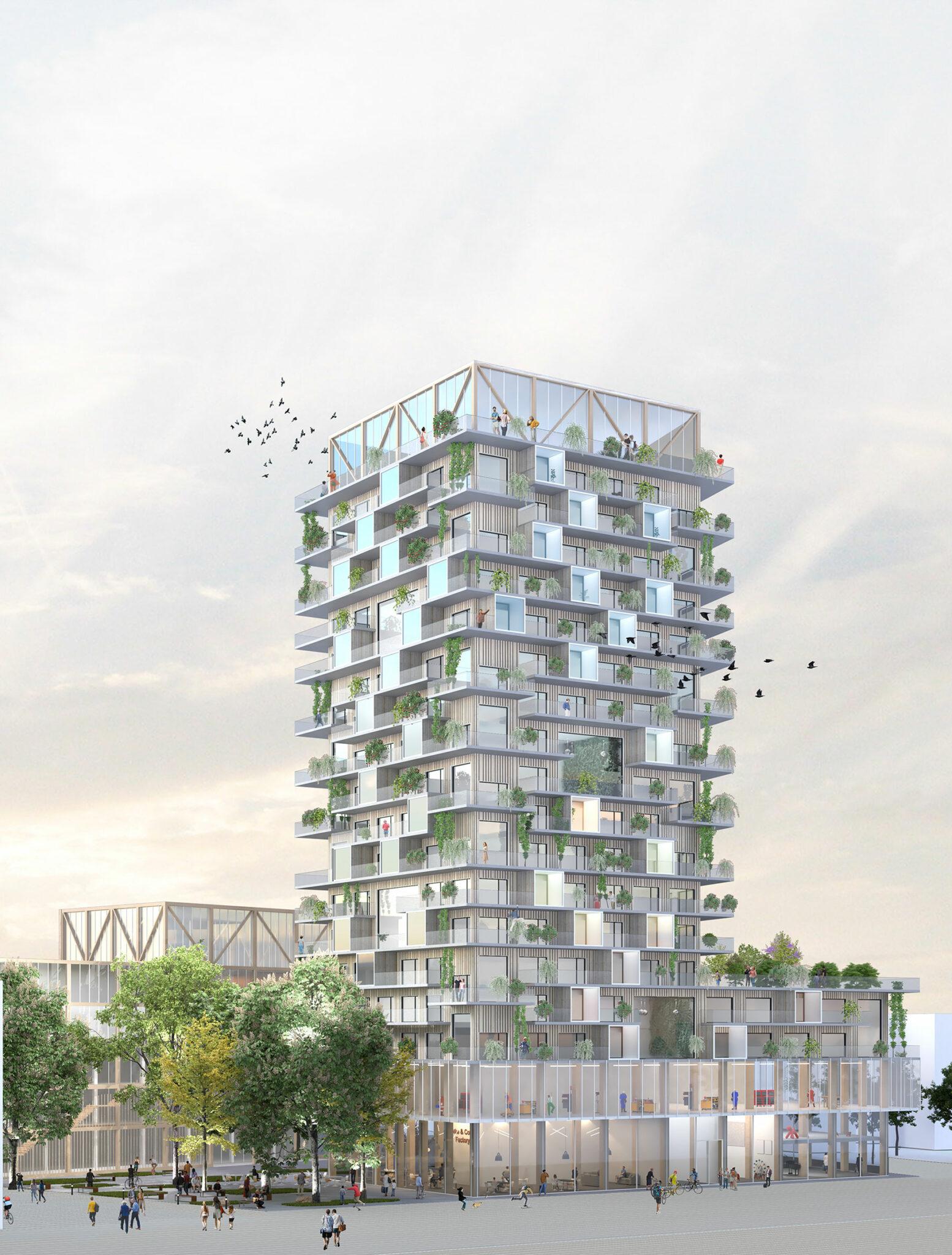 Postareal Böblingen: Visualization of the winning design (Credits: Büros Gutiérrez - De la Fuente Arquitectos / UTA Architekten und Stadtplaner)