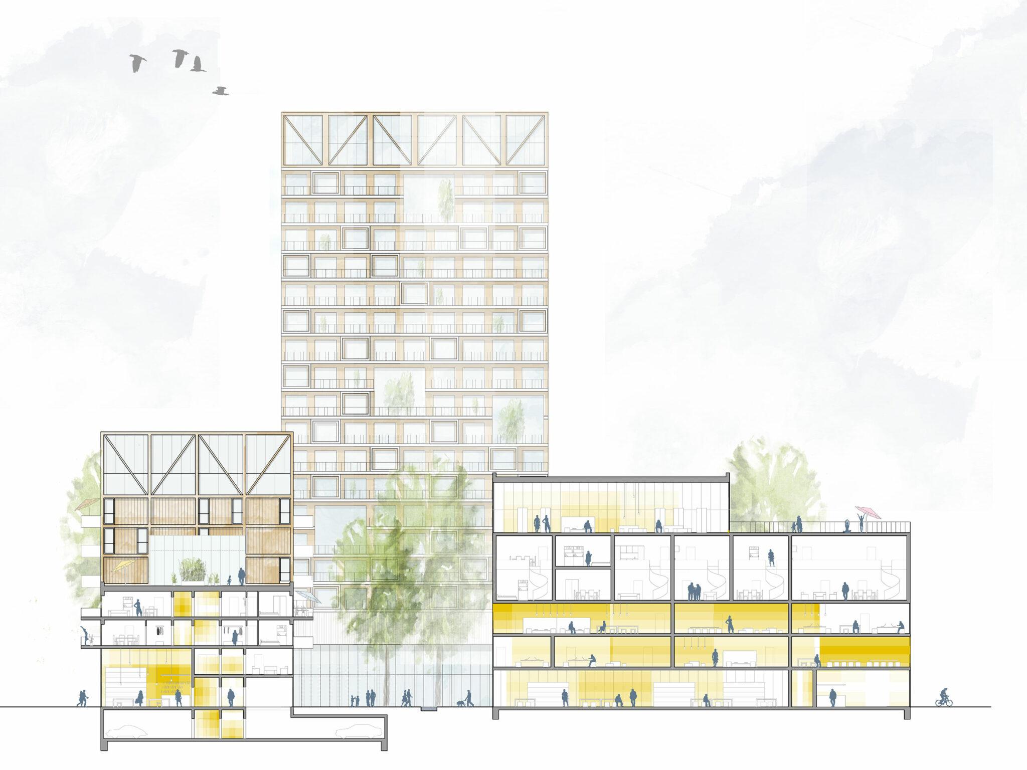 Postareal Böblingen: Sectional view of the winning design (Credits: Gutiérrez - De la Fuente Arquitectos / UTA Architekten und Stadtplaner)