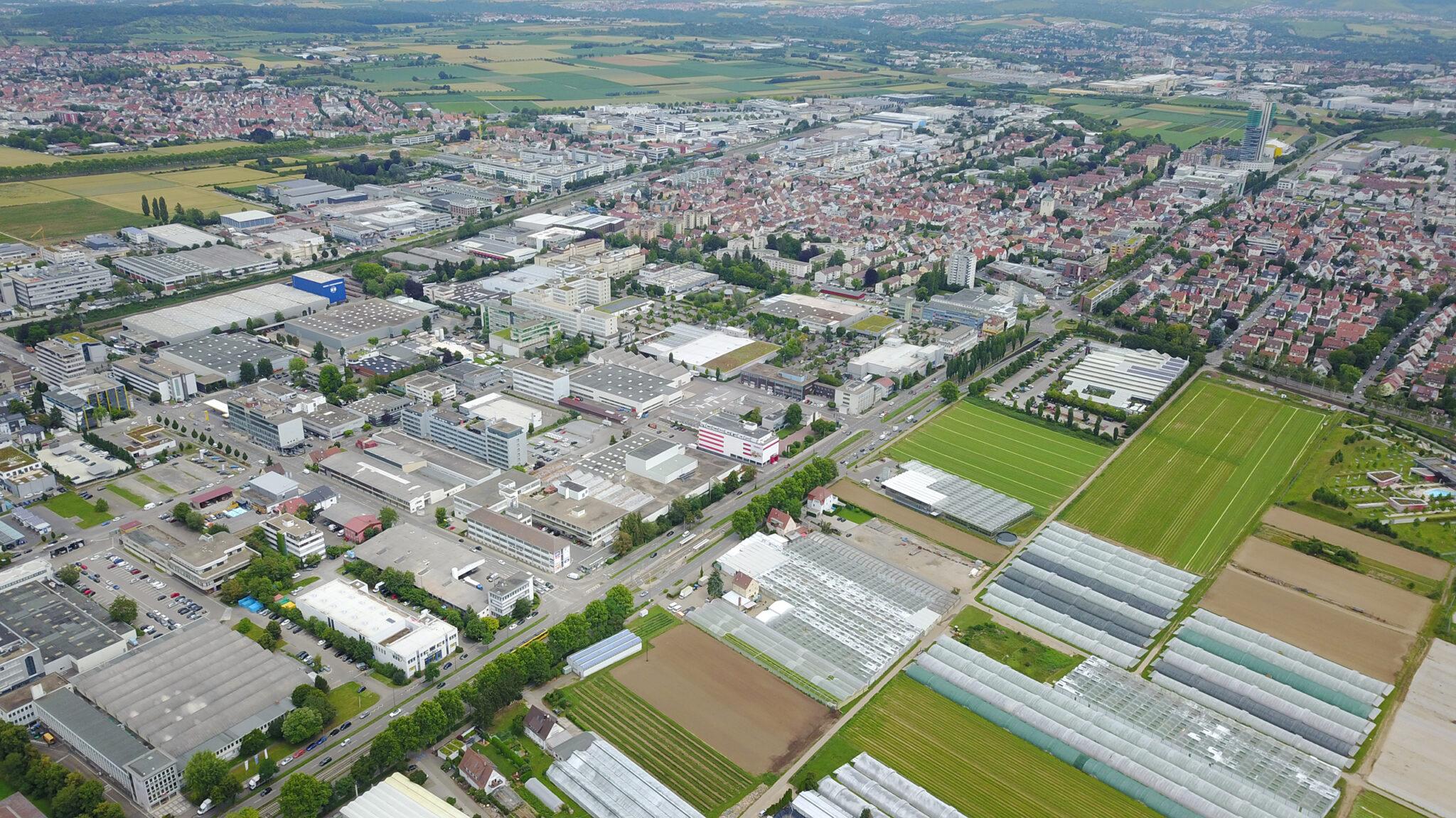 Luftbild des Projektgebiets »AGRICULTURE meets MANUFACTURING« in Fellbach. Bild: Stadt Fellbach / Niessner Design