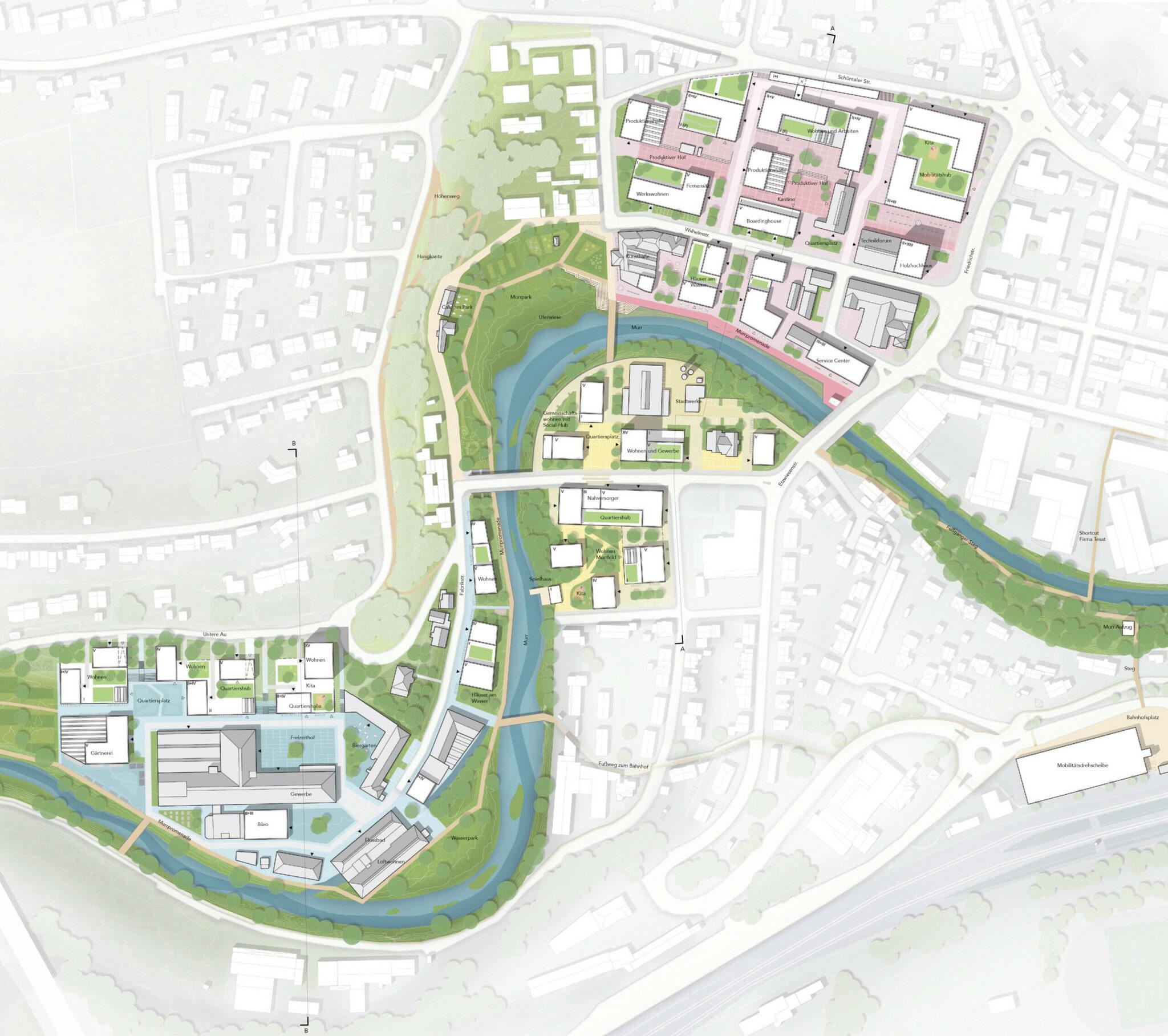Wettbewerb »Quartier Backnang West«: Lageplan zum Entwurf von Teleinternetcafe Architektur und Urbanismus zusammen mit Treibhaus Landschaftsarchitektur (Bild: Teleinternetcafe/Treibhaus)