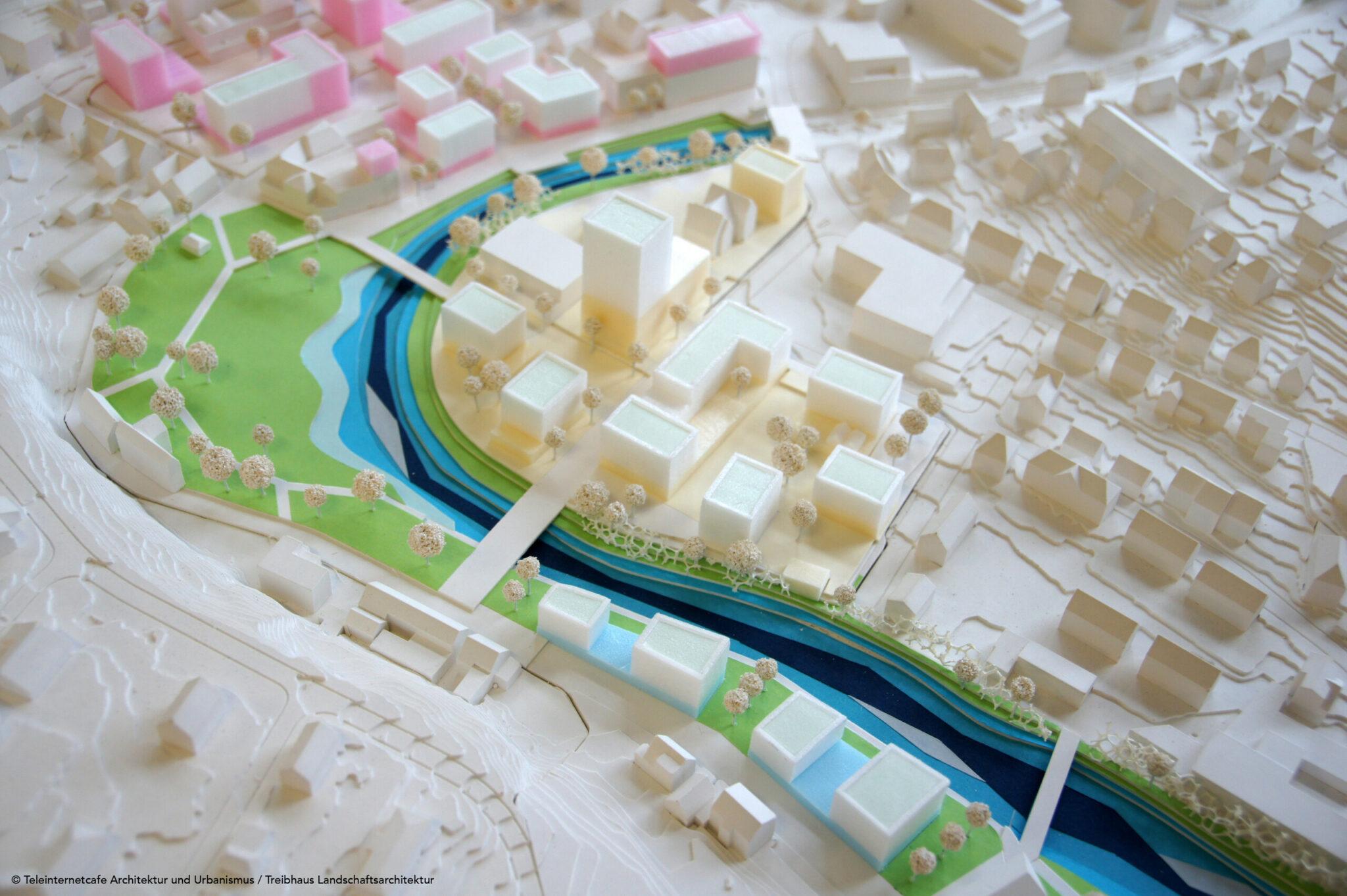 Wettbewerb »Quartier Backnang West«: Modell des Siegerentwurfs von Teleinternetcafe Architektur und Urbanismus zusammen mit Treibhaus Landschaftsarchitektur (Bild: Teleinternetcafe / Treibhaus)