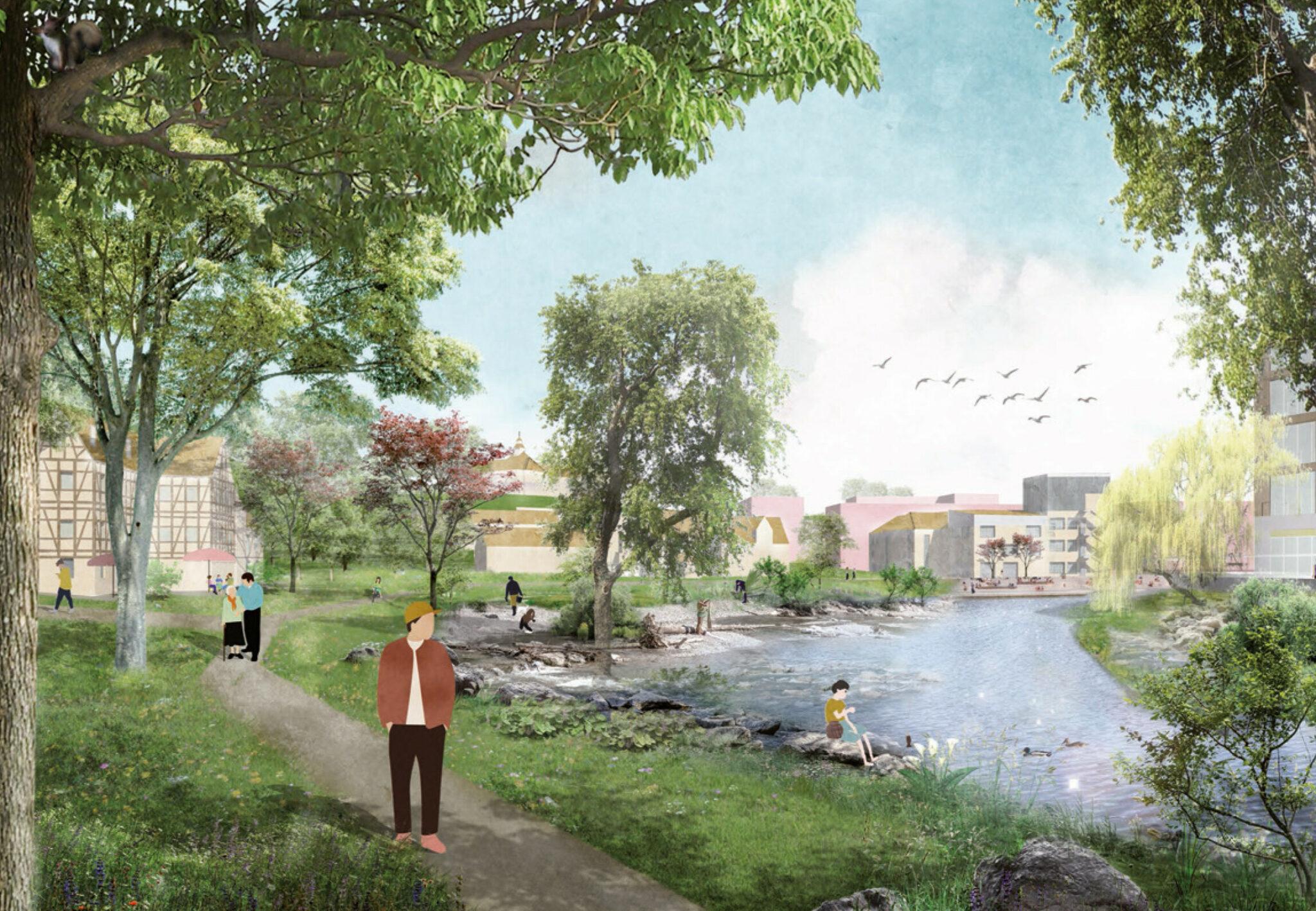 Wettbewerb »Quartier Backnang West«: Visualisierung der ParkAue: Öffentlicher Park als Gelenk zwischen Hangkante und Murr (Bild: Teleinternetcafe/Treibhaus)