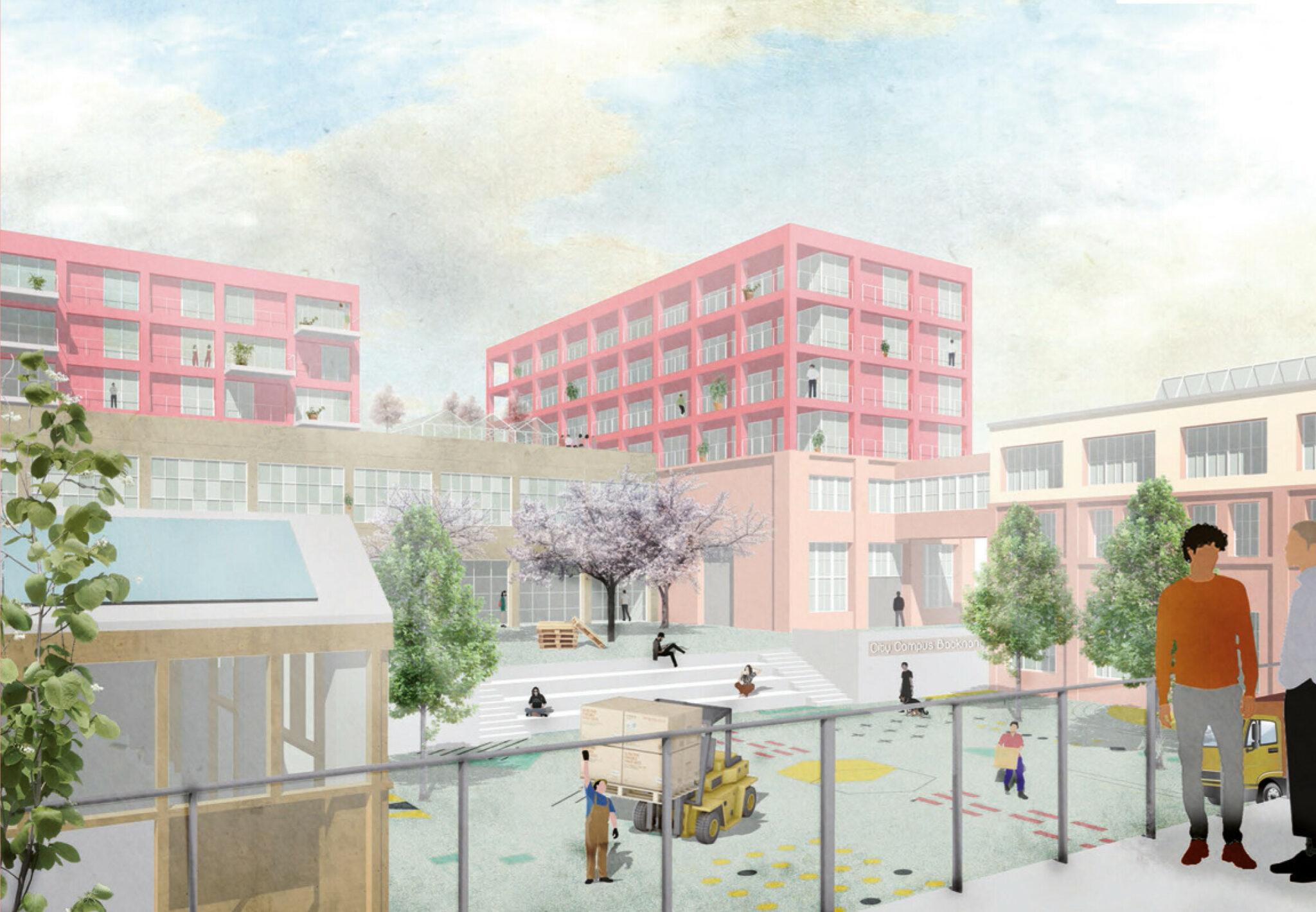 Wettbewerb »Quartier Backnang West«: Visualisierung des CityCampus: Produktiver Hof mit Forschung, Gewerbe und Wohnen (Bild: Teleinternetcafe/Treibhaus)