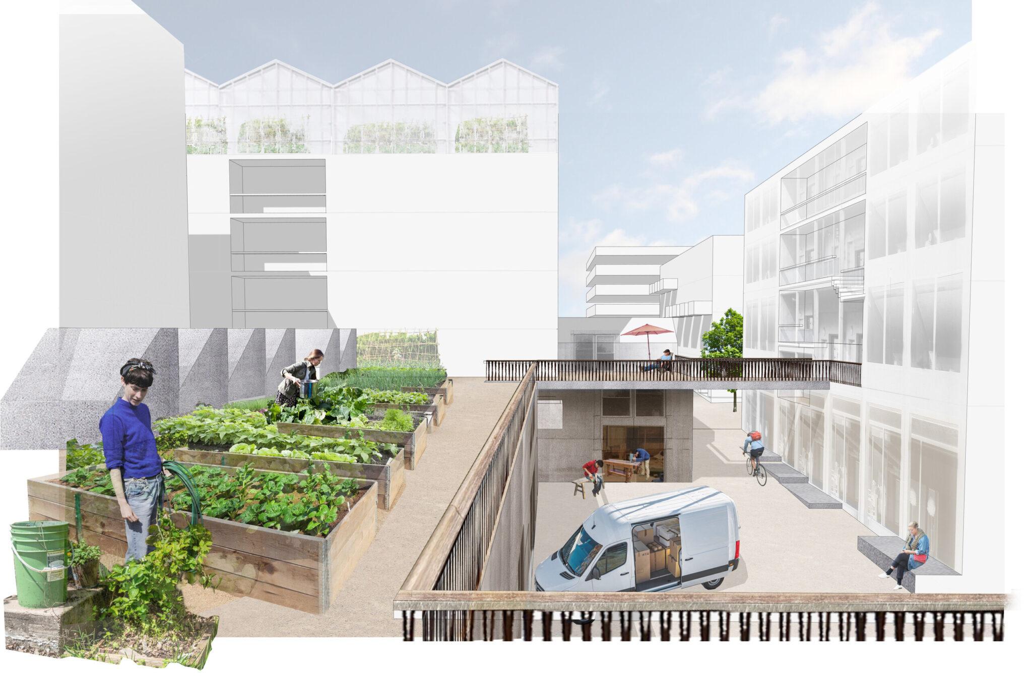 Visualisierung aus dem städtebaulichen Entwurf von JOTT architecture & urbanism GbR für das IBA'27-Projekt »Produktives Stadtquartier Winnenden«: Blick in den lebendigen Innenhof eines Baublocks (Bild: JOTT architecture & urbanism GbR)
