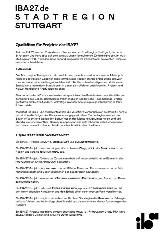 IBA'27: Zielbild & Qualitäten